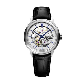 Automatic Skeleton, 39mm Polished steel on leather strap, silver galvanic dial