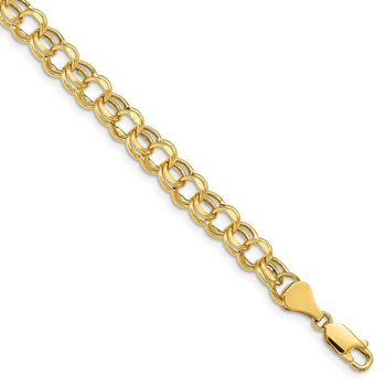 14k 7in 6.5mm Hollow Double Link Charm Bracelet