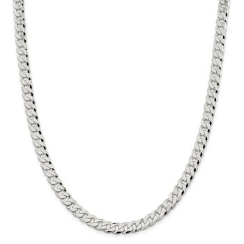 Sterling Silver 7mm Beveled Curb Chain