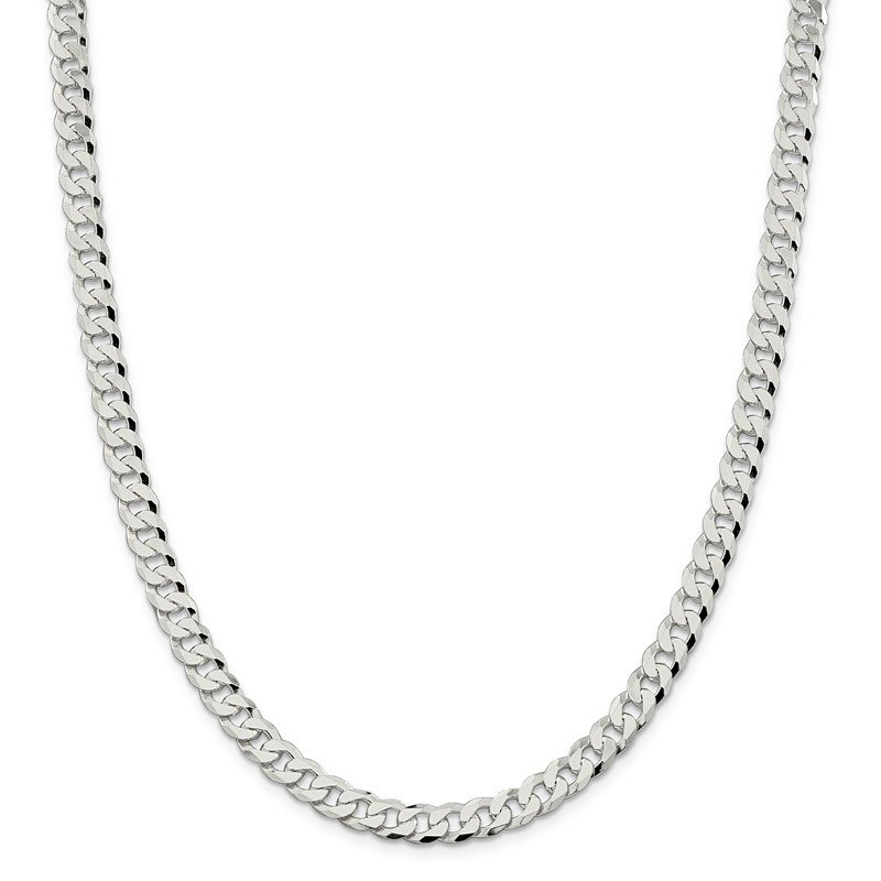 Quality Gold Sterling Silver 7mm Beveled Curb Chain