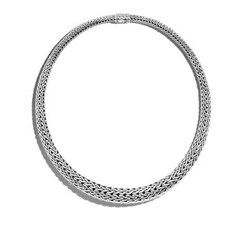 Classic Chain 13MM Graduated Necklace in Silver