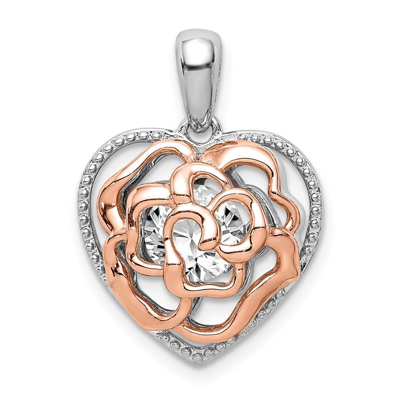 Quality Gold Sterling Silver Rhod-plated & Rose-tone Heart w/Vibrant CZ Pendant