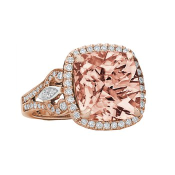 Rose Morganite & Diamond Ring 18KR