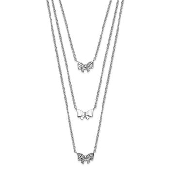 Sterling Silver Rhodium-plated Three Strand CZ Bow w/ 2in ext. Necklace