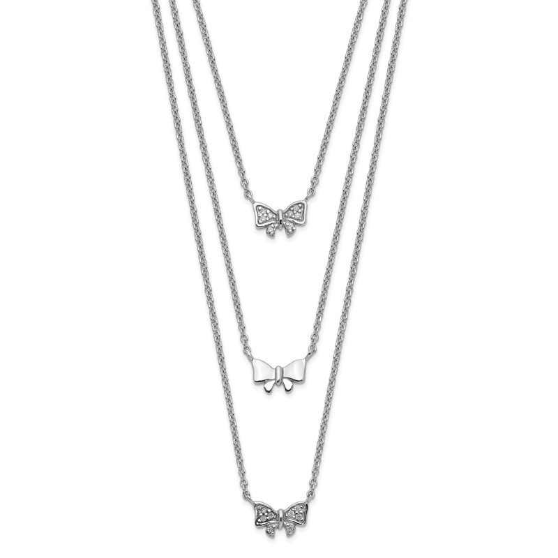 Quality Gold Sterling Silver Rhodium-plated Three Strand CZ Bow w/ 2in ext. Necklace