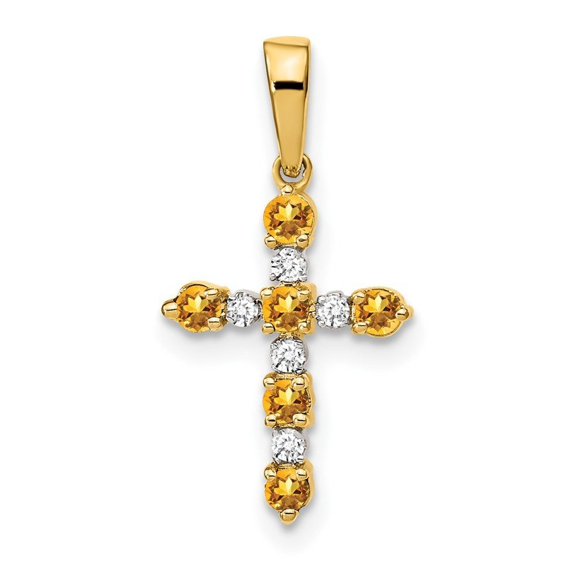 Quality Gold 14k Citrine and Diamond Cross Pendant
