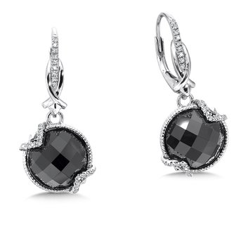 Sterling silver, black onyx and diamond earrings