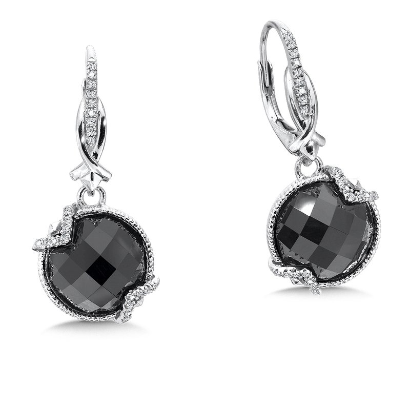 Colore Sg Sterling silver, black onyx and diamond earrings