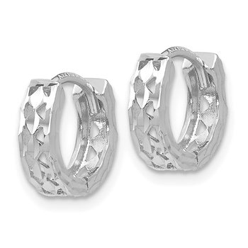 14k White Gold Cut-out Design Hinged Hoop Earrings