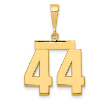 14k Medium Polished Number 44 Charm