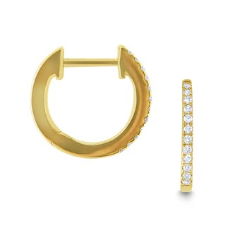 Gold and Diamond Mini Hoop Earrings