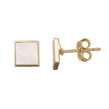 Cultured Mother of Pearl Slice Square Stud