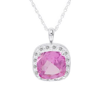 14k White Gold Created Pink Sapphire and 1/6ct Diamond Necklace