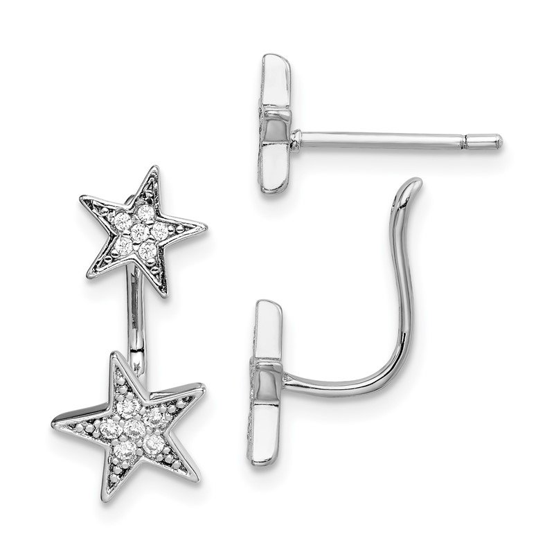 Quality Gold Sterling Silver Rhodium plated CZ Star Front and Back Post Earrings