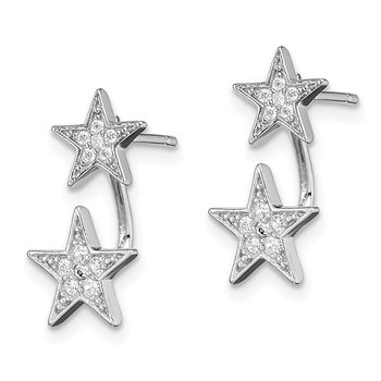 Sterling Silver Rhodium plated CZ Star Front and Back Post Earrings