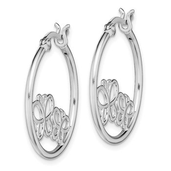 Sterling Silver Rhod Plated Double Butterfly Hoop Hinged Earrings