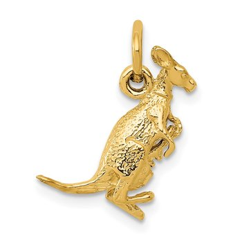 14k 3D Kangaroo with Joey Charm