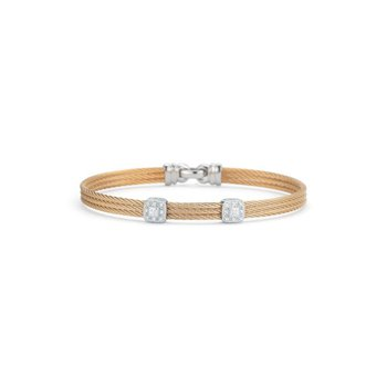 Rose Cable Classic Stackable Bracelet with Double Square Station set in 18kt White Gold