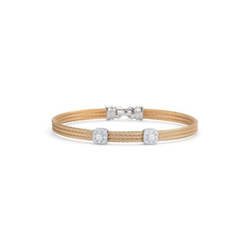ALOR Rose Cable Classic Stackable Bracelet with Double Square Station set in 18kt White Gold