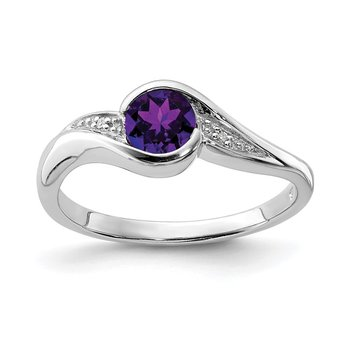 Sterling Silver Rhodium Plated Diamond and Amethyst Round Ring