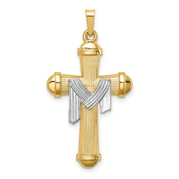 14k Two-tone Hollow Polished Draped Cross