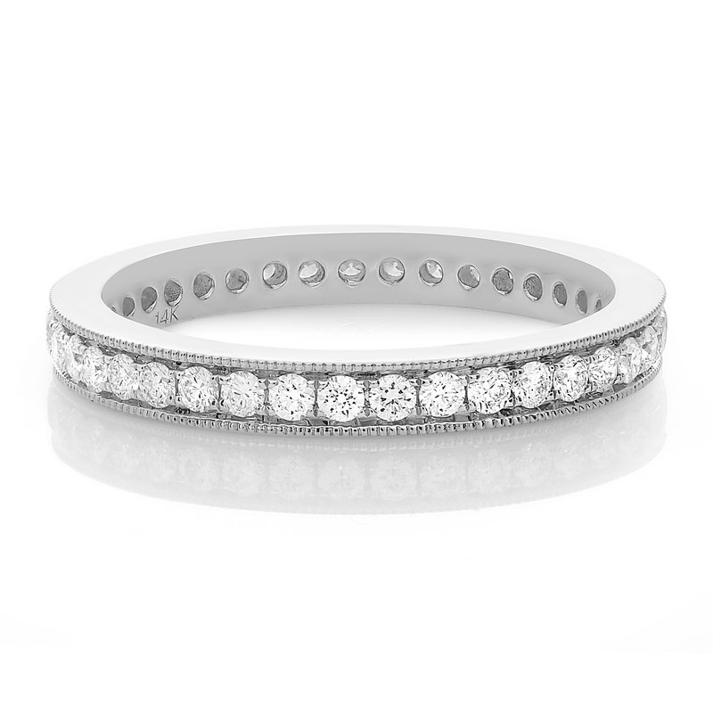 Roman & Jules White Gold Milgrain Diamond Eternity Band
