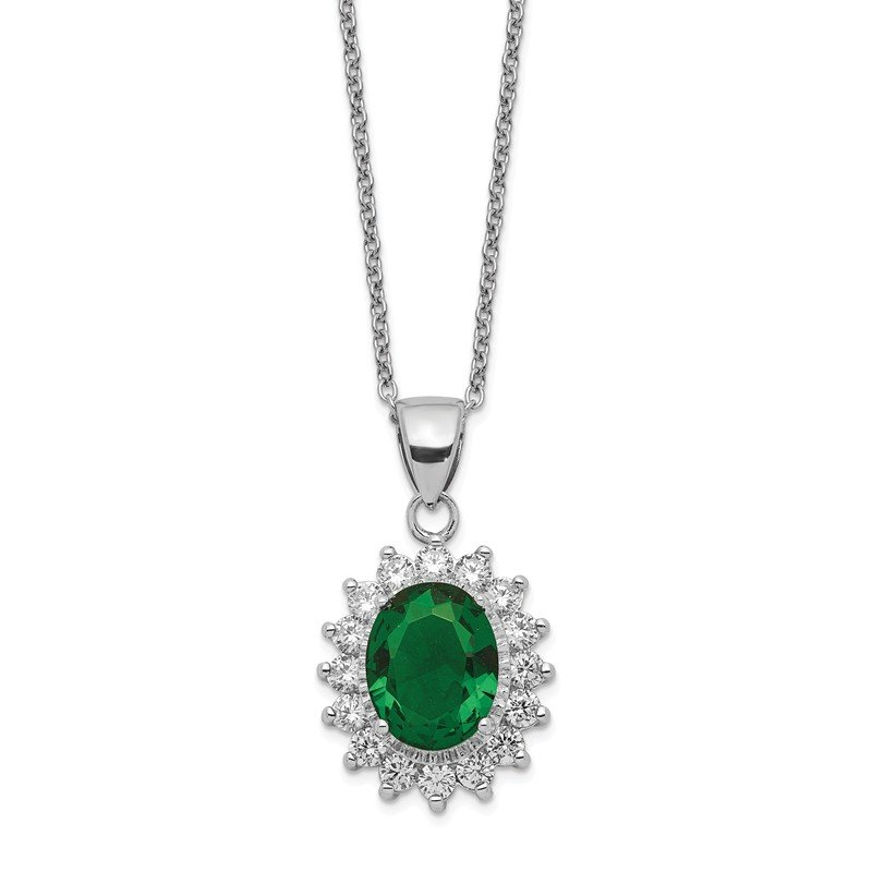 Cheryl M Cheryl M Sterling Silver Brilliant-cut CZ & Green Glass Necklace