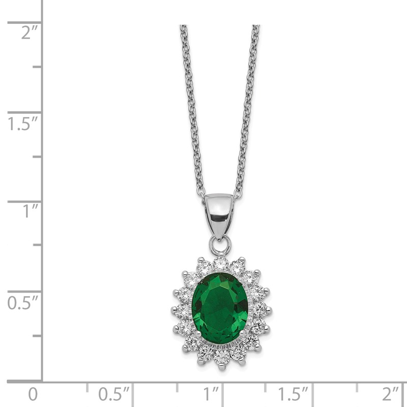 Cheryl M Sterling Silver W// Rhodium-plated Synthetic Opal Cabochon /& CZ 18in Necklace