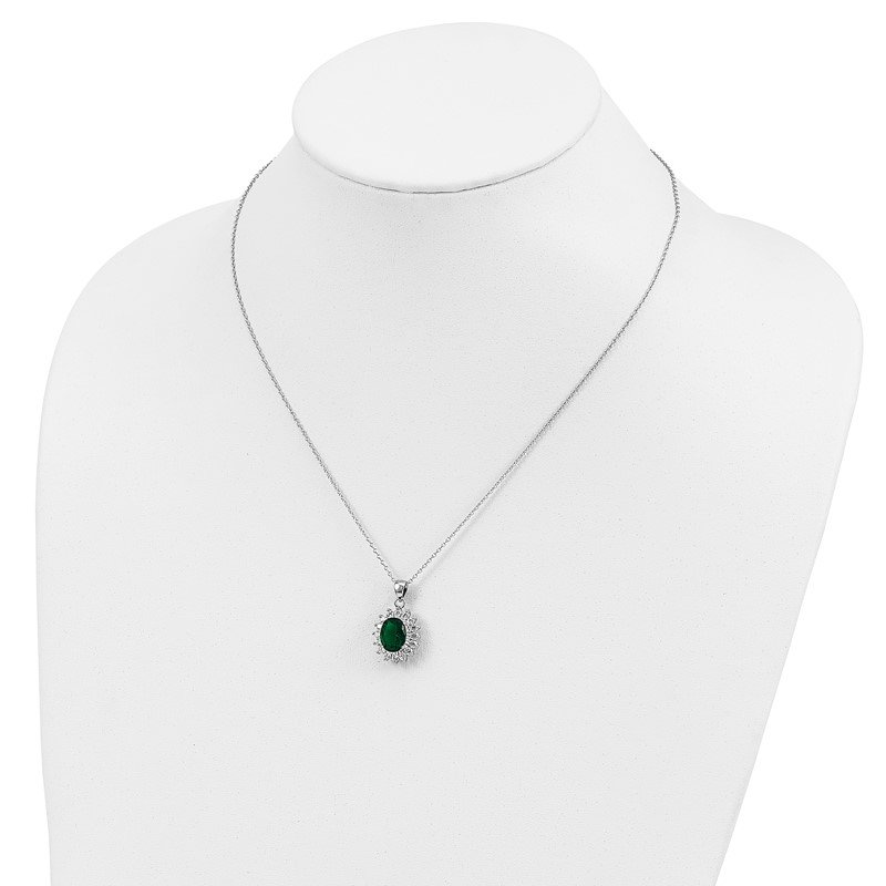 Cheryl M Cheryl M Sterling Silver Rhodium-plated CZ & Green Glass 18.25in Necklace