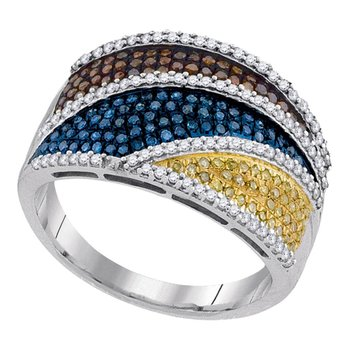 10kt White Gold Womens Round Multicolor Enhanced Diamond Striped Fashion Ring 3/4 Cttw