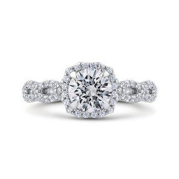 18K White Gold Round Halo Diamond Vintage Engagement Ring (Semi-Mount)