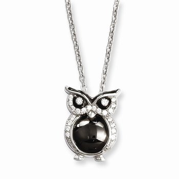Sterling Silver Brilliant Embers Rhodium-plated CZ Owl Necklace