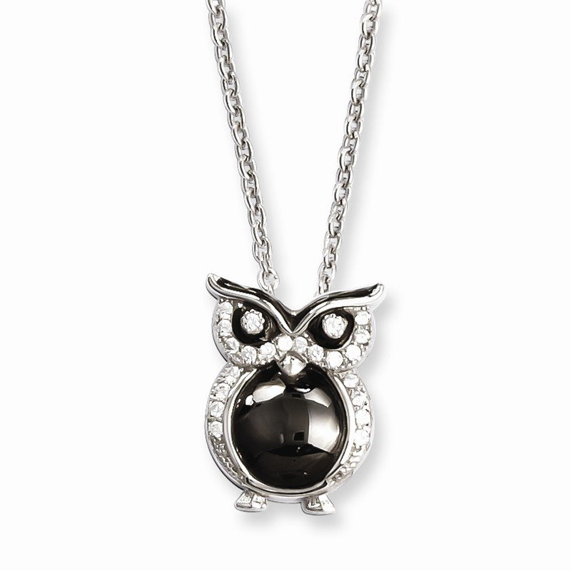 Quality Gold SS Rhodium-Plated CZ Brilliant Embers Owl Necklace