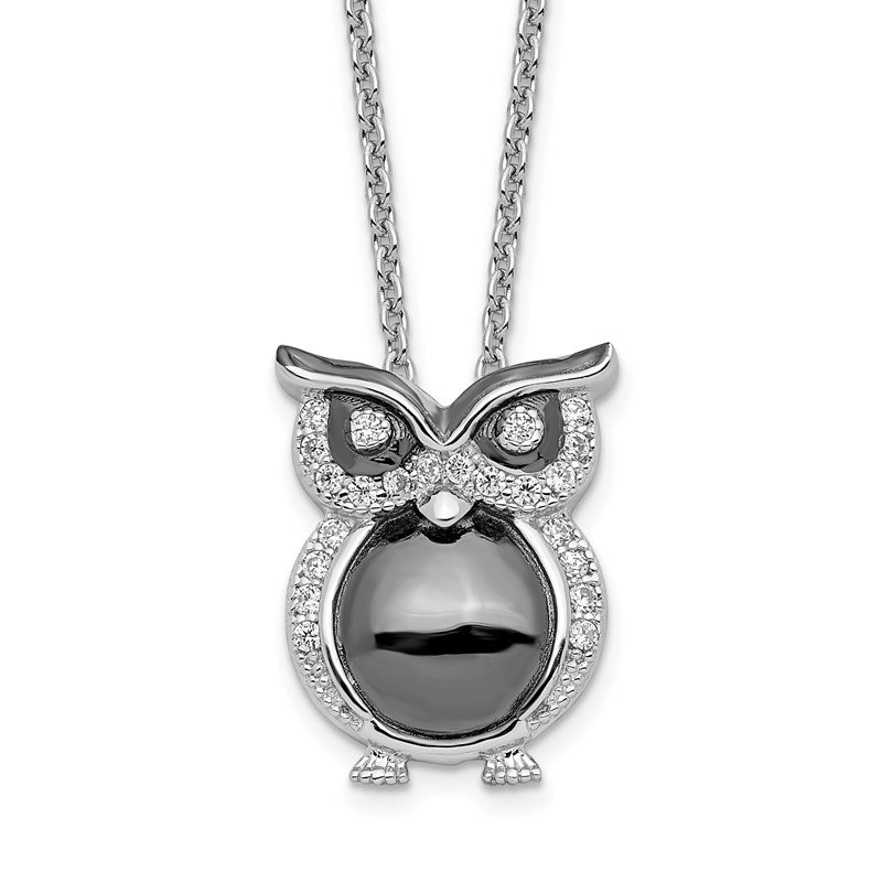 Quality Gold Sterling Silver Brilliant Embers Rhodium-plated CZ Owl Necklace