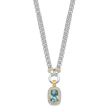 Sterling Silver Flash Gold-plated Clear and Blue CZ 16 inch Necklace