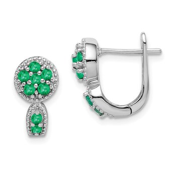 Sterling Silver Rhodium-plated Emerald Circle Hinged Earrings