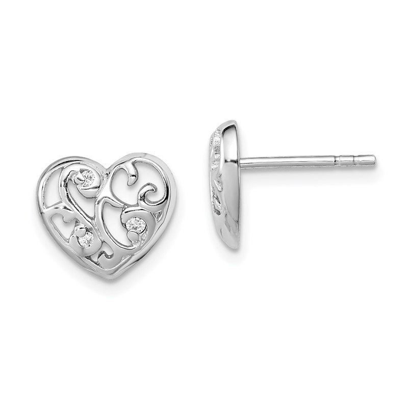 Quality Gold Sterling Silver Rhodium Plated CZ Heart Post Earrings