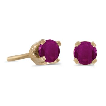 3 mm Petite Round Genuine Ruby Stud Earrings in 14k Yellow Gold