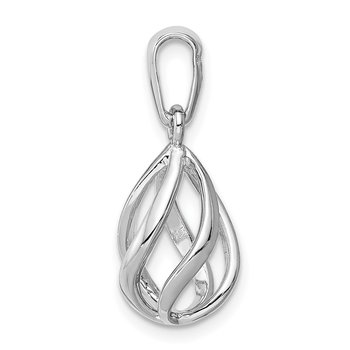 Sterling Silver Rhodium-plated Polished Teardrop Cage Pendant