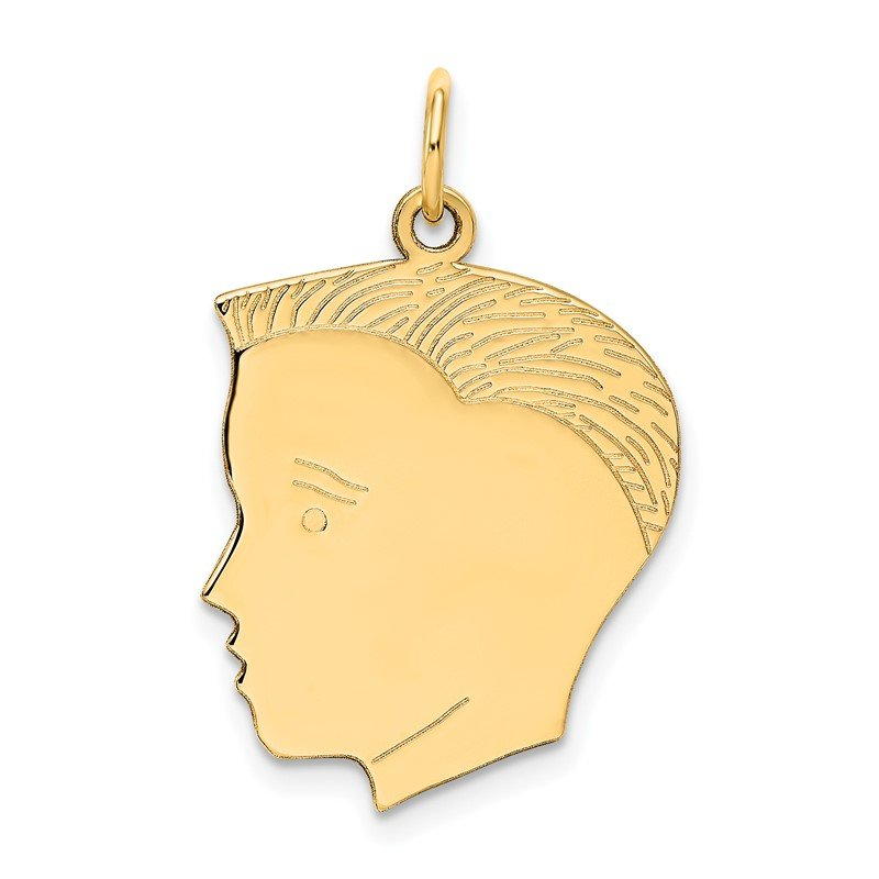 Quality Gold 14k .013 Depth Engravable Boy Head Charm