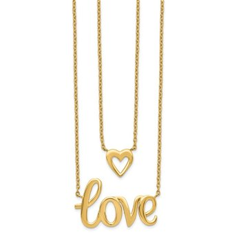 14k Gold 2-strand Love & Heart Necklace