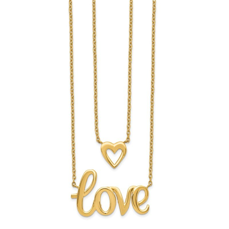 Quality Gold 14k Gold 2-strand Love & Heart Necklace