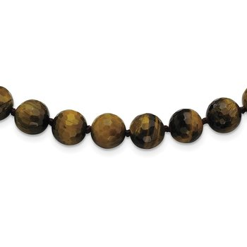 10-10.5mm Faceted Tiger Eye Necklace