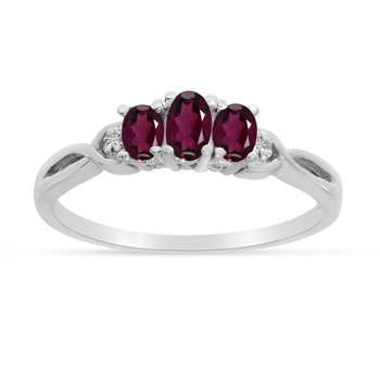 10k White Gold Oval Rhodolite Garnet And Diamond Three Stone Ring
