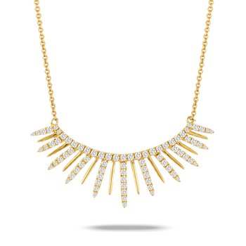 Diamond Curved Necklace 18KY