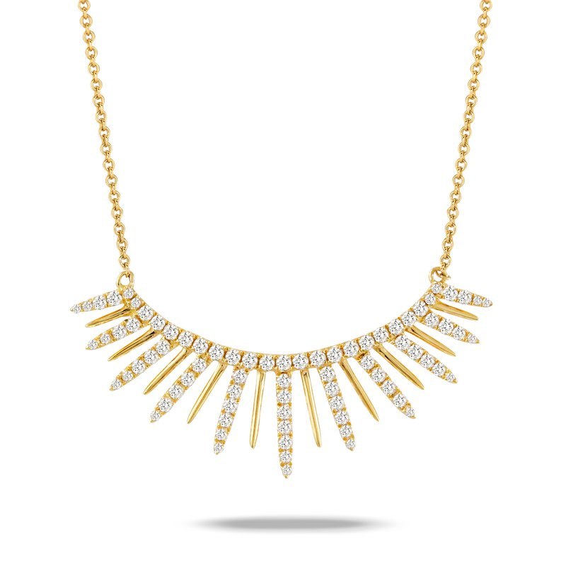 MAZZARESE Couture Diamond Curved Necklace 18KY