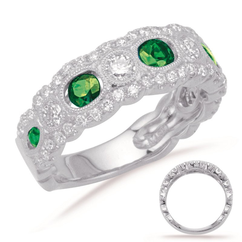 S. Kashi  & Sons Platinum Emeralds & Diamond Band
