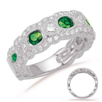 Platinum Emeralds & Diamond Band