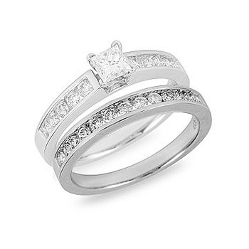 18K WG and Palladium Diamond Engagement Ring with Princess Center