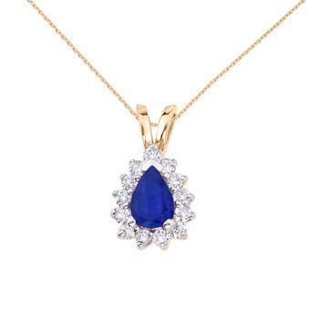 14k Yellow Gold 6x4 mm Pear Shaped Sapphire and Diamond Pendant